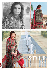 Wheat Brown and Red Party Wear Printed Pure Glace Satin Cotton Straight Suit