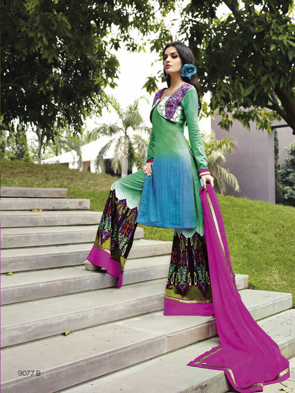 Sky Blue and Purple Cotton Satin Party Wear Palazzo Suit