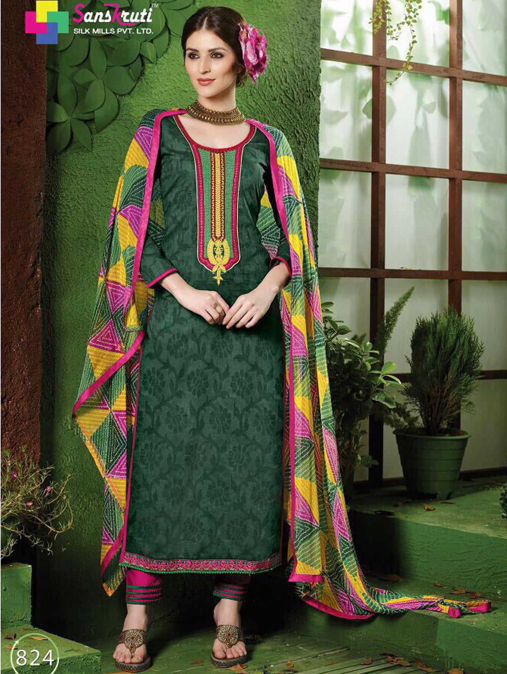 Dark Green and Deep Pink Pure Cotton Straight Suit