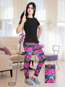 Magenta and Multicolour Floral Printed Leggings