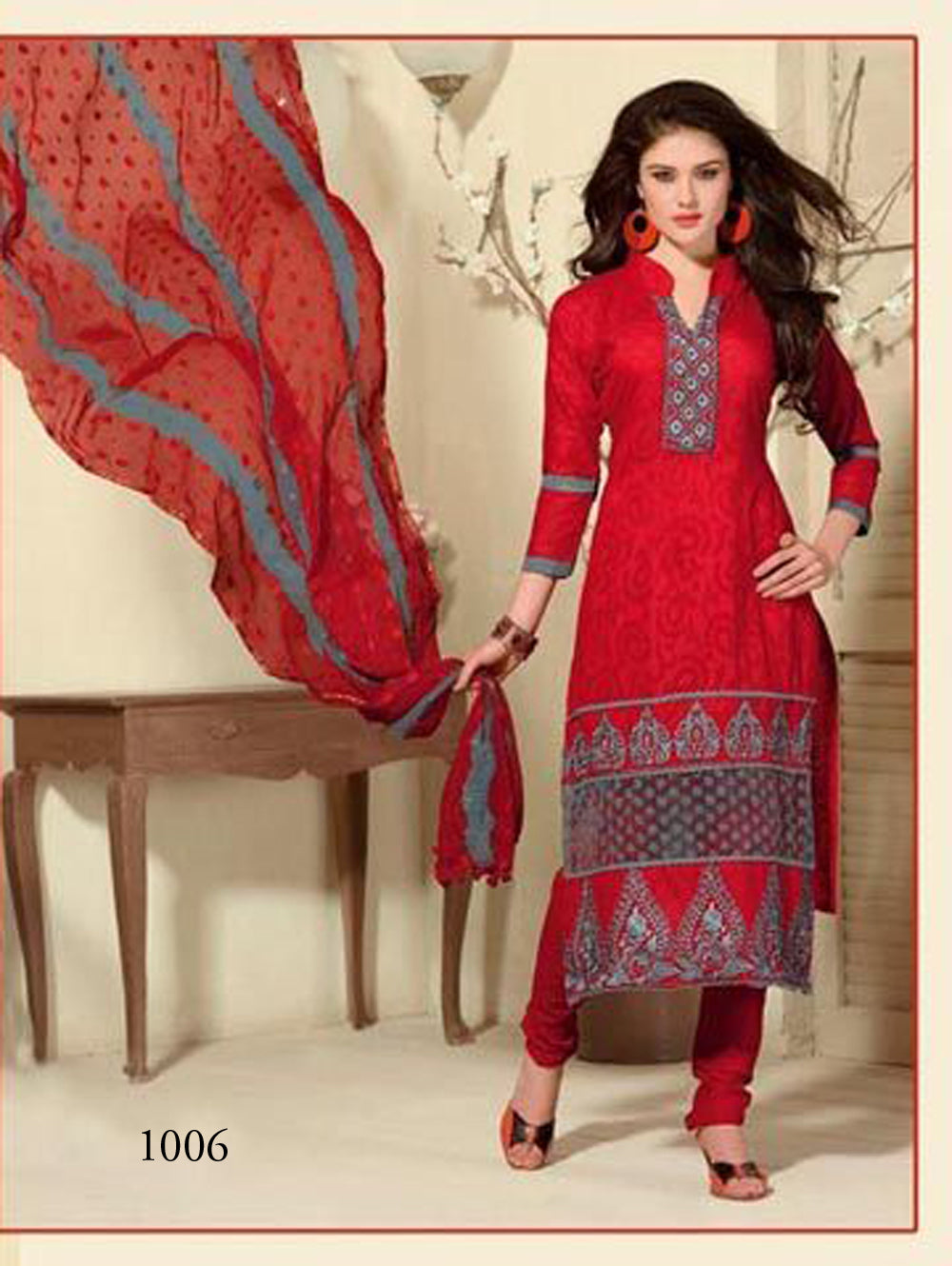 Red and Slate Grey Cotton Jaqcuard Party Wear Straight Suit