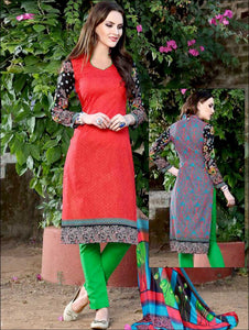 Red and Black Printed Pure Cotton Long Concept Daily Wear Salwar Suit