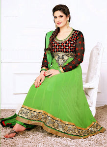 Black and Green Party Wear Georgette Anarkali Suit