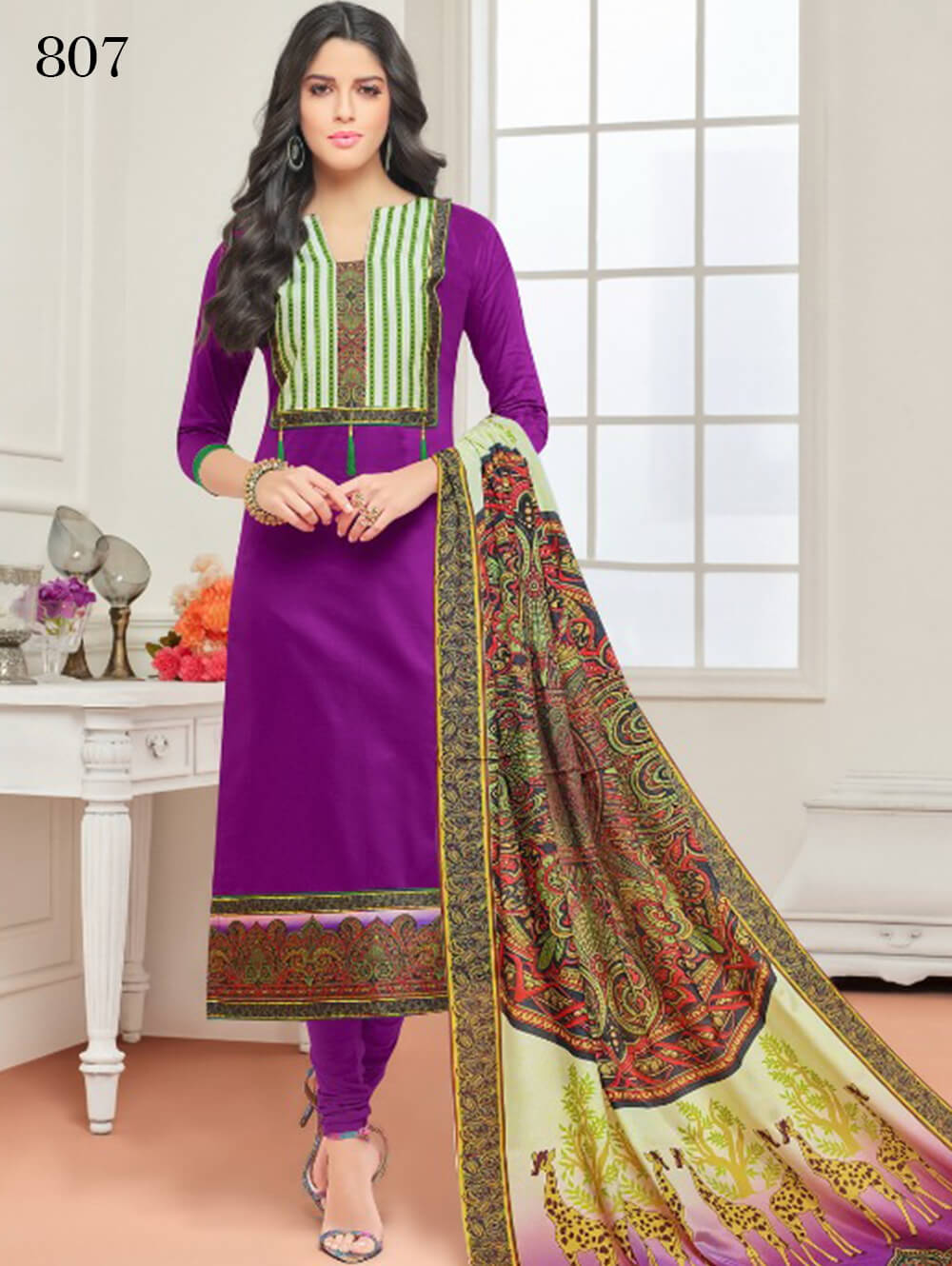 Purple Designer Cotton Straight Suit
