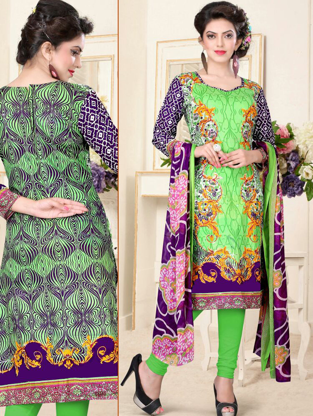 Mint Green and Indigo Blue Printed Cambic Daily Wear Pakistani Style Indian Suit Dress Material