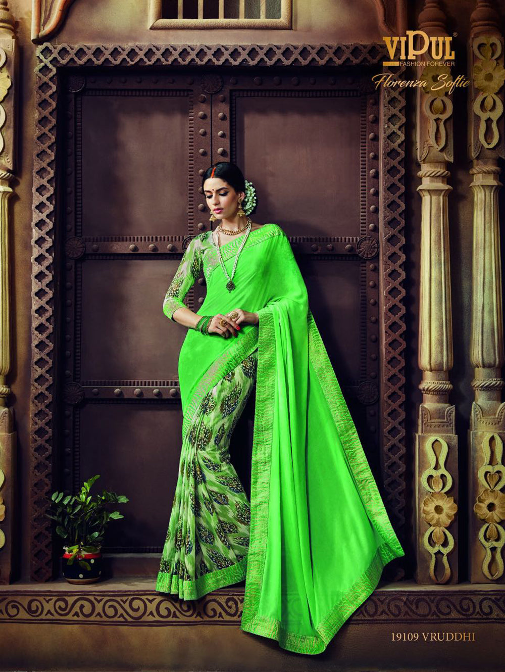 Bright Green Traditional Casual Wear Saree