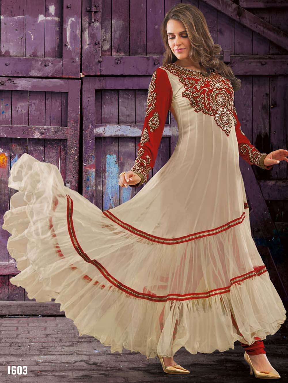 Beige and Red Georgette Anarkali Suit