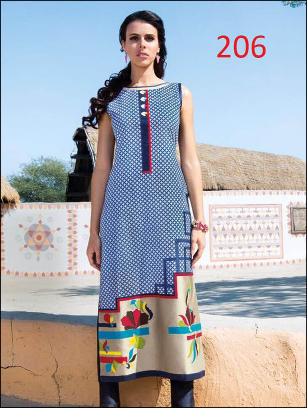 Long Kurtis Size XL Colour Blue Material silk