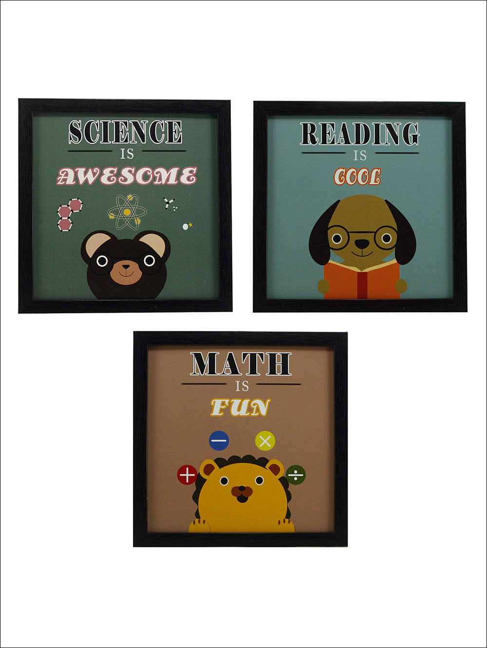 Indianara 3 Piece Set Of Framed Wall Hanging Kids Room Decor Science Math Reading Art Prints Without Glass