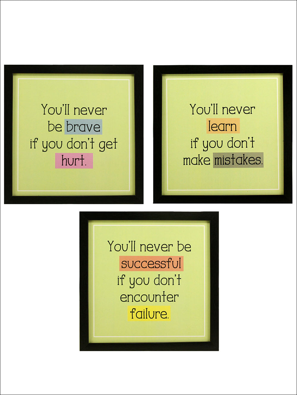 Indianara 3 Piece Set Of Framed Wall Hanging Hurt Mistakes Failure Motivational Spiritual Art Prints Without Glass