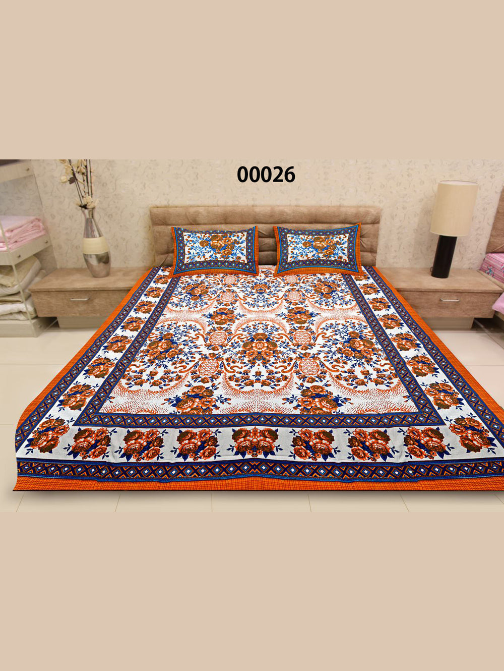 00026White and Dark Orange Ethnic Cotton Queen Size Floral Bedsheet With 2 Pillow Covers