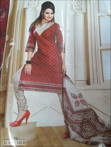 Red Printed Salwar Suit
