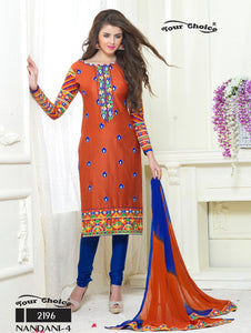 Carrot Orange and Navy Blue Embroidered Glace Cotton Occasional Wear Straight Suit