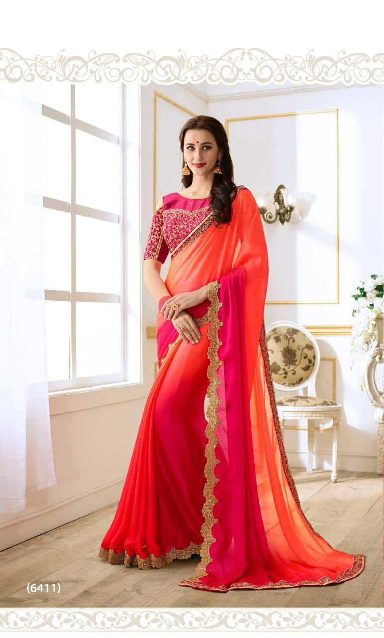 Chinnon Saree With Embriodery Work