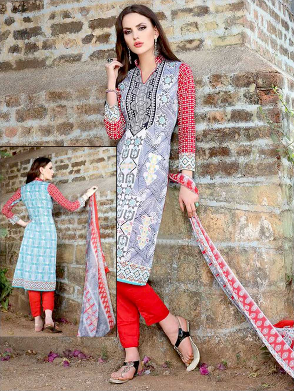 Slate Blue and Red Printed Pure Cotton Long Concept Daily Wear Salwar Suit