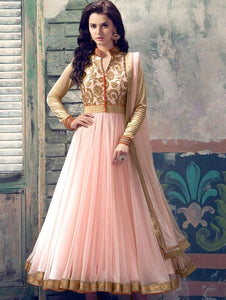 Peach and Beige Party Wear Embroidered Georgette Replica Anarkali Suit