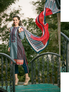 Red and Dark Aqua Blue Embroidered Printed Cotton Daily Wear Straight Suit