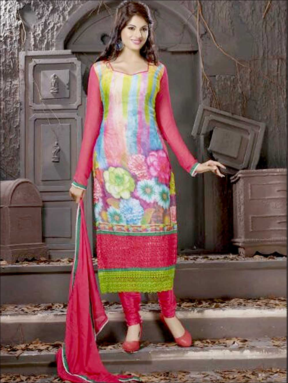 Crimson and Multicolour Georgette Party Wear Digital Print Straight Suit