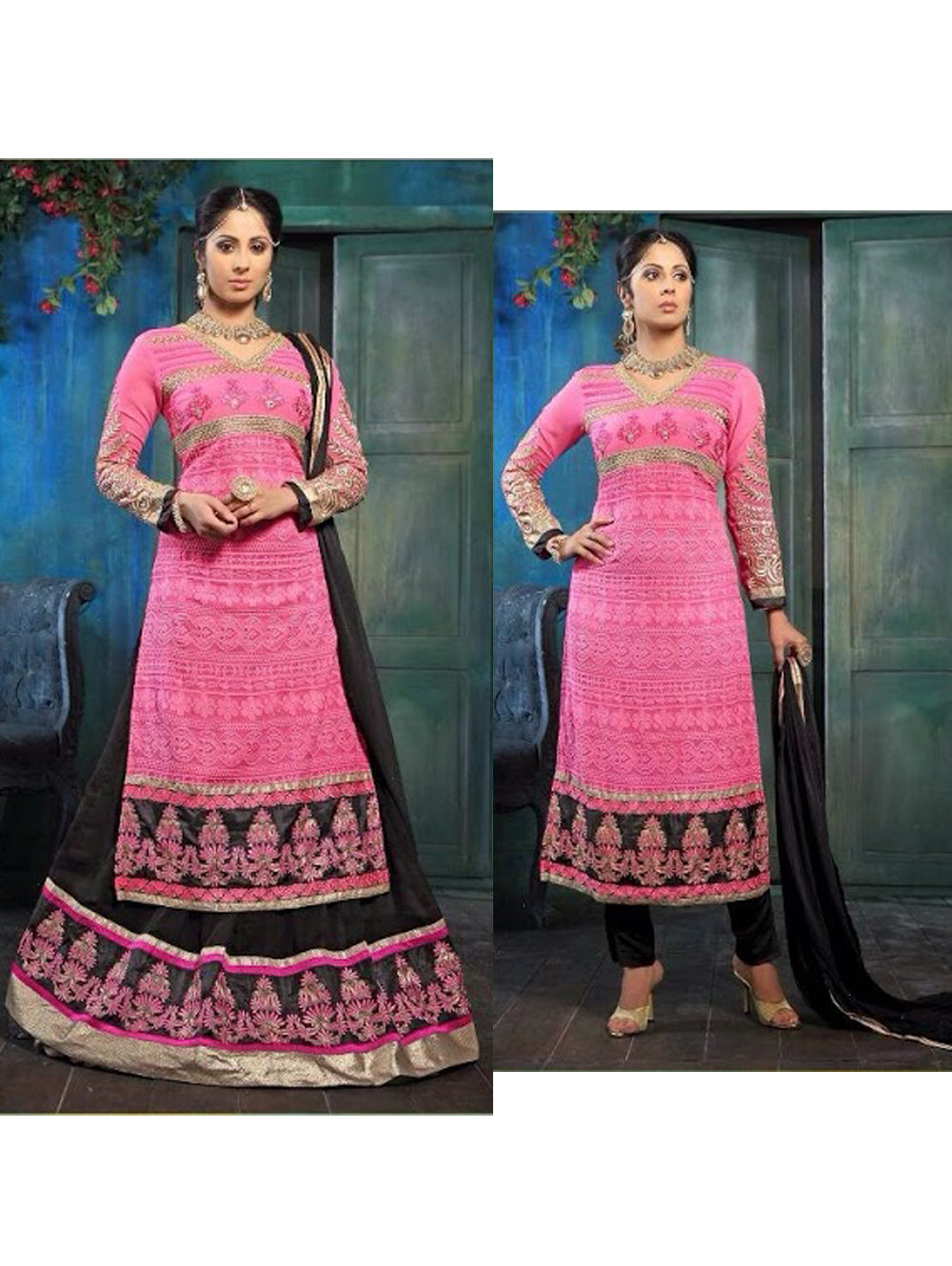 Bright Pink and Magenta Party Wear Embroidered Designer Suit
