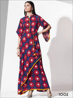 Blue and Red Designer Rayon Kurti