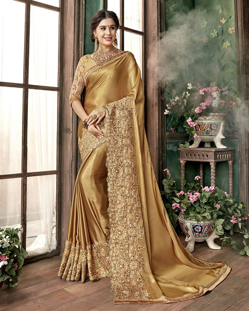 Chinnon Silk Saree With Border Work