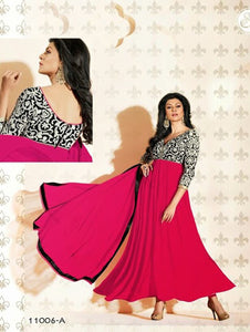 Bright Pink and Black Anarkali Suit
