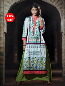 Aqua Blue and Multicolour Cotton Lawn Daily Wear Kurti
