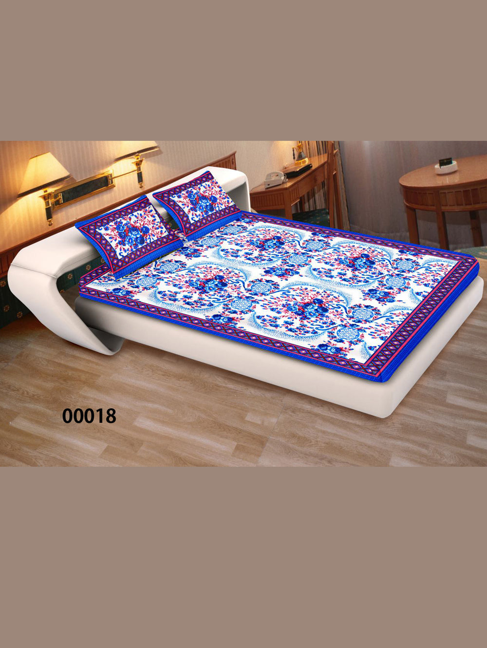 00018SkyBlue and White Ethnic Cotton Queen Size Floral Bedsheet With 2 Pillow Covers