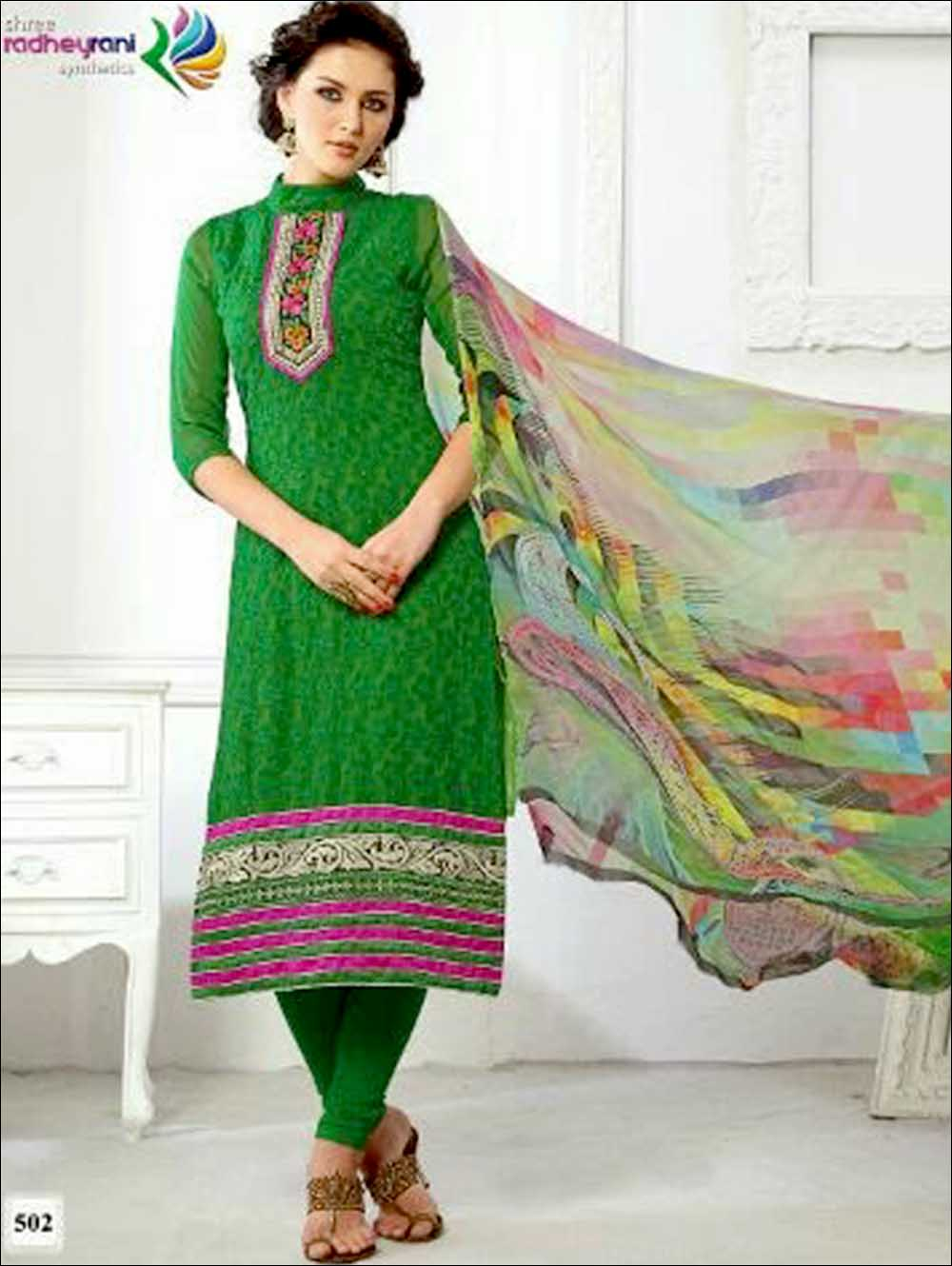 Green Georgette with Schiffli and Embroidery Work Party Wear Straight Suit
