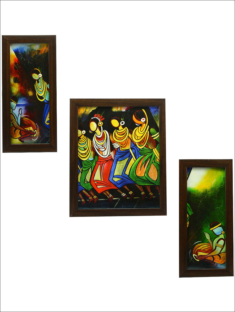 3 Pc Set Of Folk Paintings Without Glass