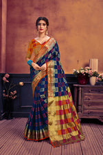 Navy blue & red nylon art silk woven saree with blouse piece