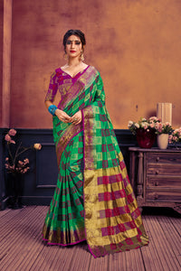 Green & pink nylon art silk woven saree with blouse piece