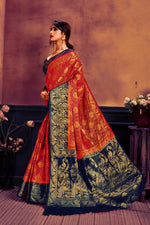 Red & navy blue nylon broacde saree woven saree with blouse piece