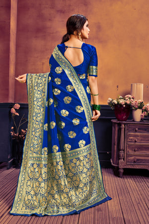 Blue & pink poly cotton woven saree with blouse piece