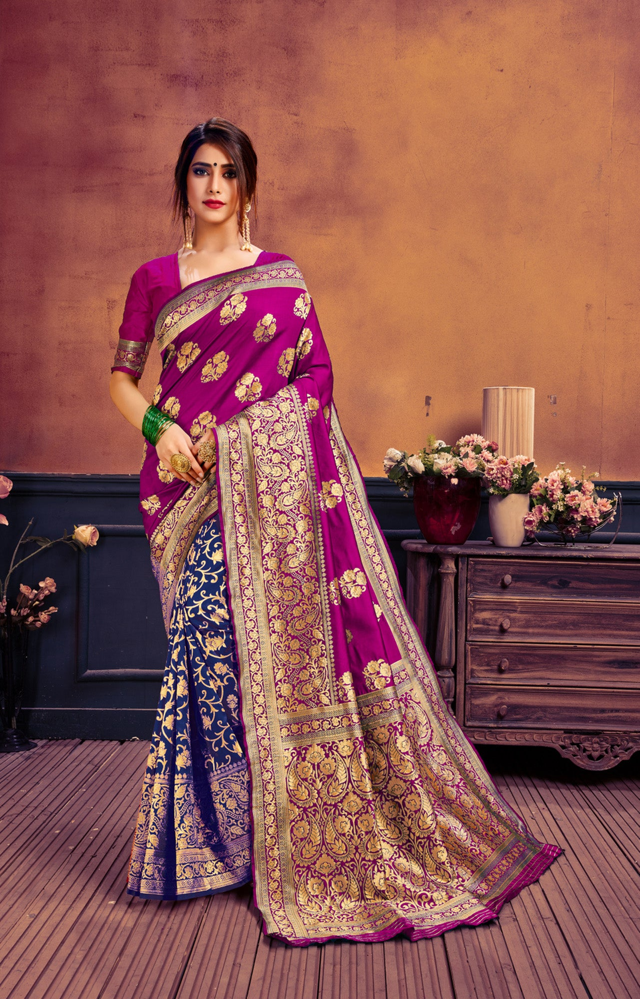 Pink & blue poly cotton woven saree with blouse piece