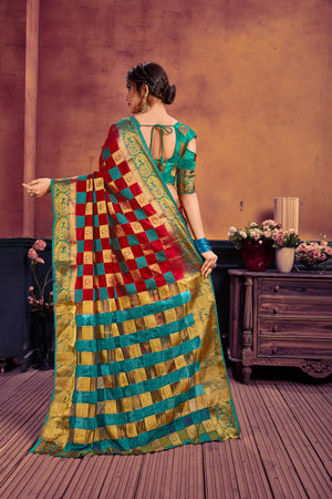 Red & green nylon art silk woven saree with blouse piece