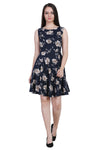 Women Drop Waist Dark Blue Dress
