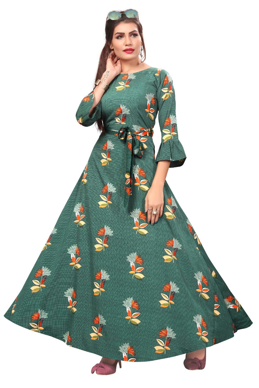 Printed Crepe Stitched Anarkali Gown