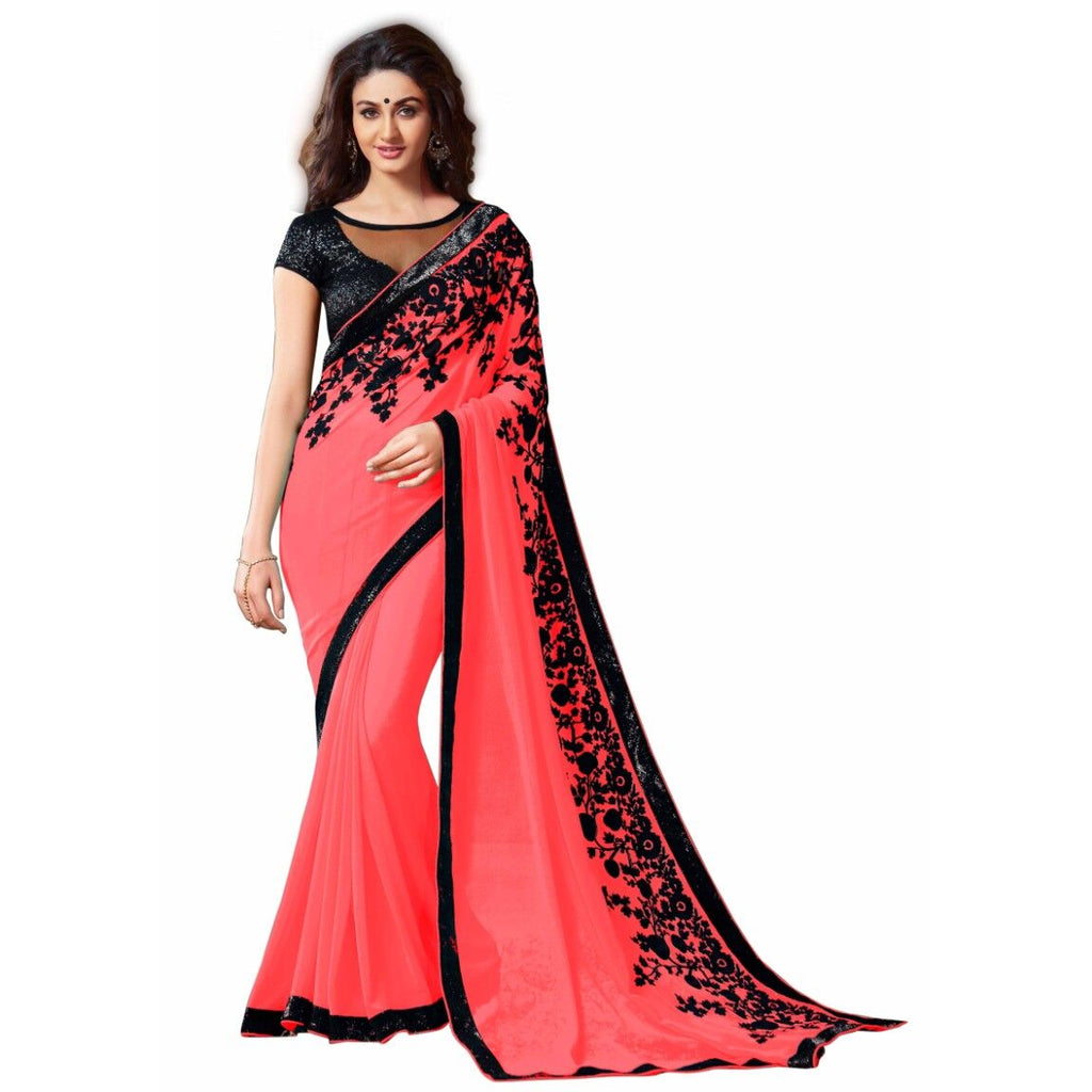 Red Blended Georgette Designer Saree With Blouse