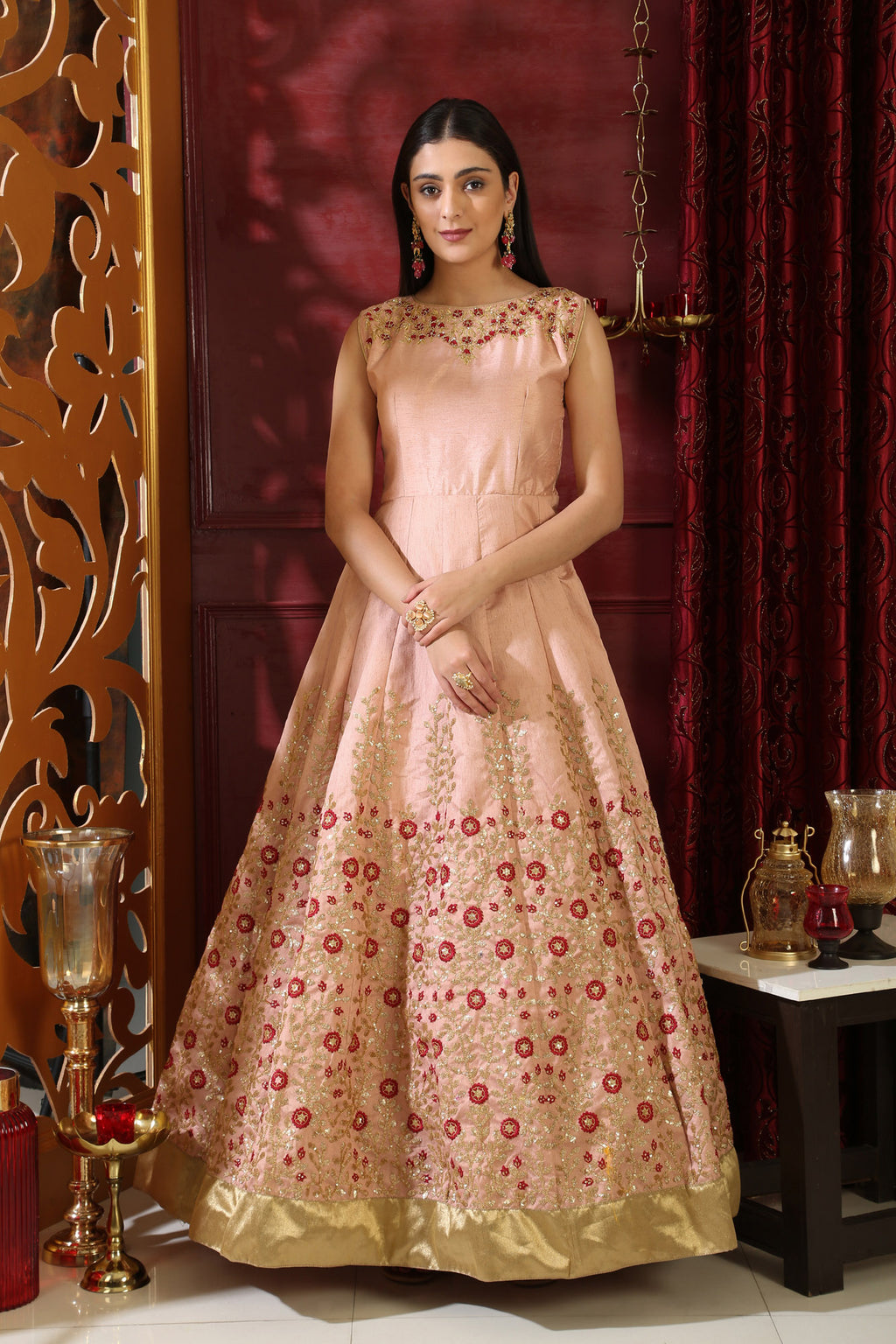 Semi Stitched Peach Silk Gown