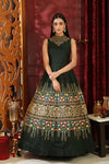 Semi Stitched Dark Green Silk Gown