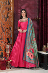 Semi Stitched Dark Pink Silk Gown