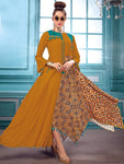 Orange Heavy Rayon And Muslin Kurti