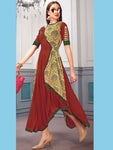 Dark Red Heavy Rayon And Muslin Kurti