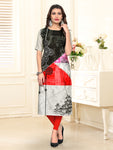 Black Grey Heavy American Crepe  Kurti