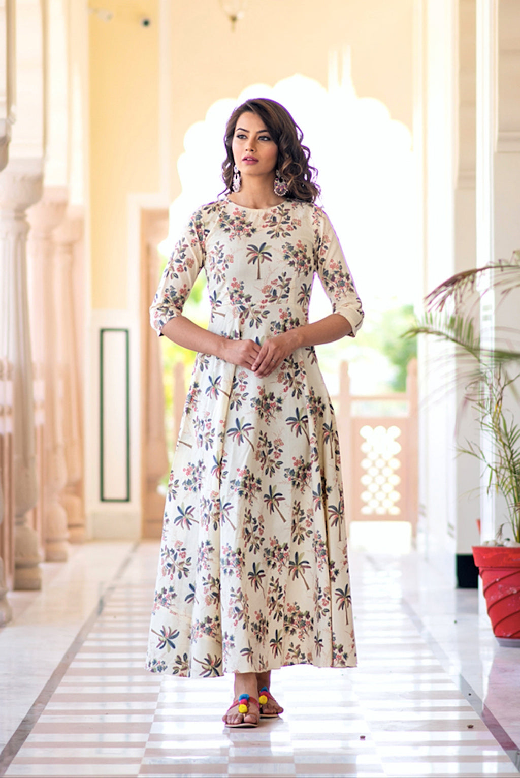 Stitched Cream Pure Maslin Gown