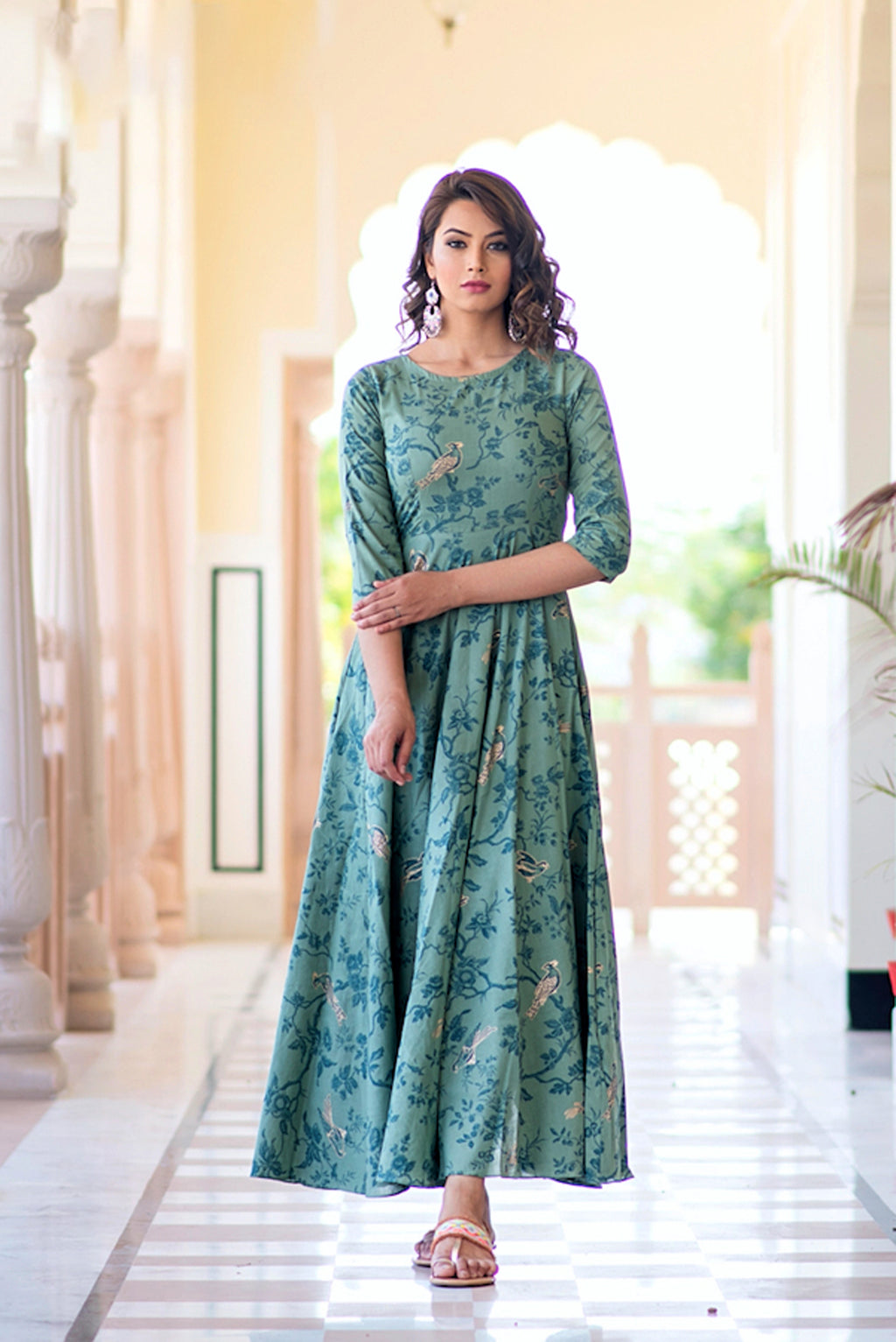 Stitched Light Aqua Pure Maslin Gown