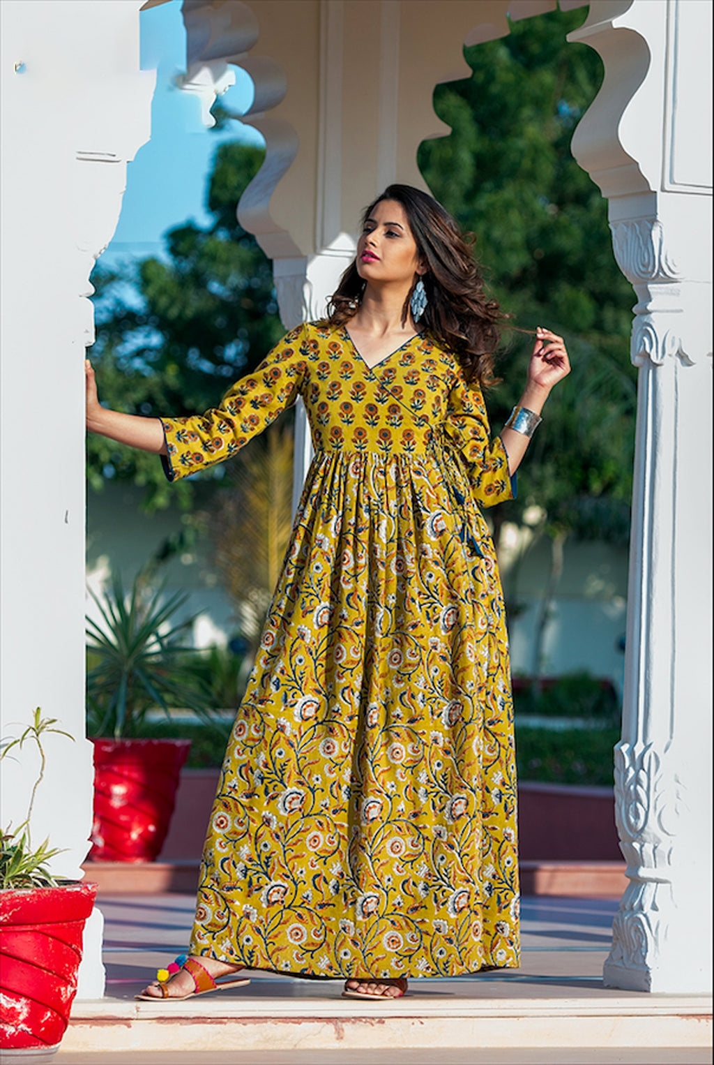 Stitched Yellow Pure Maslin Gown