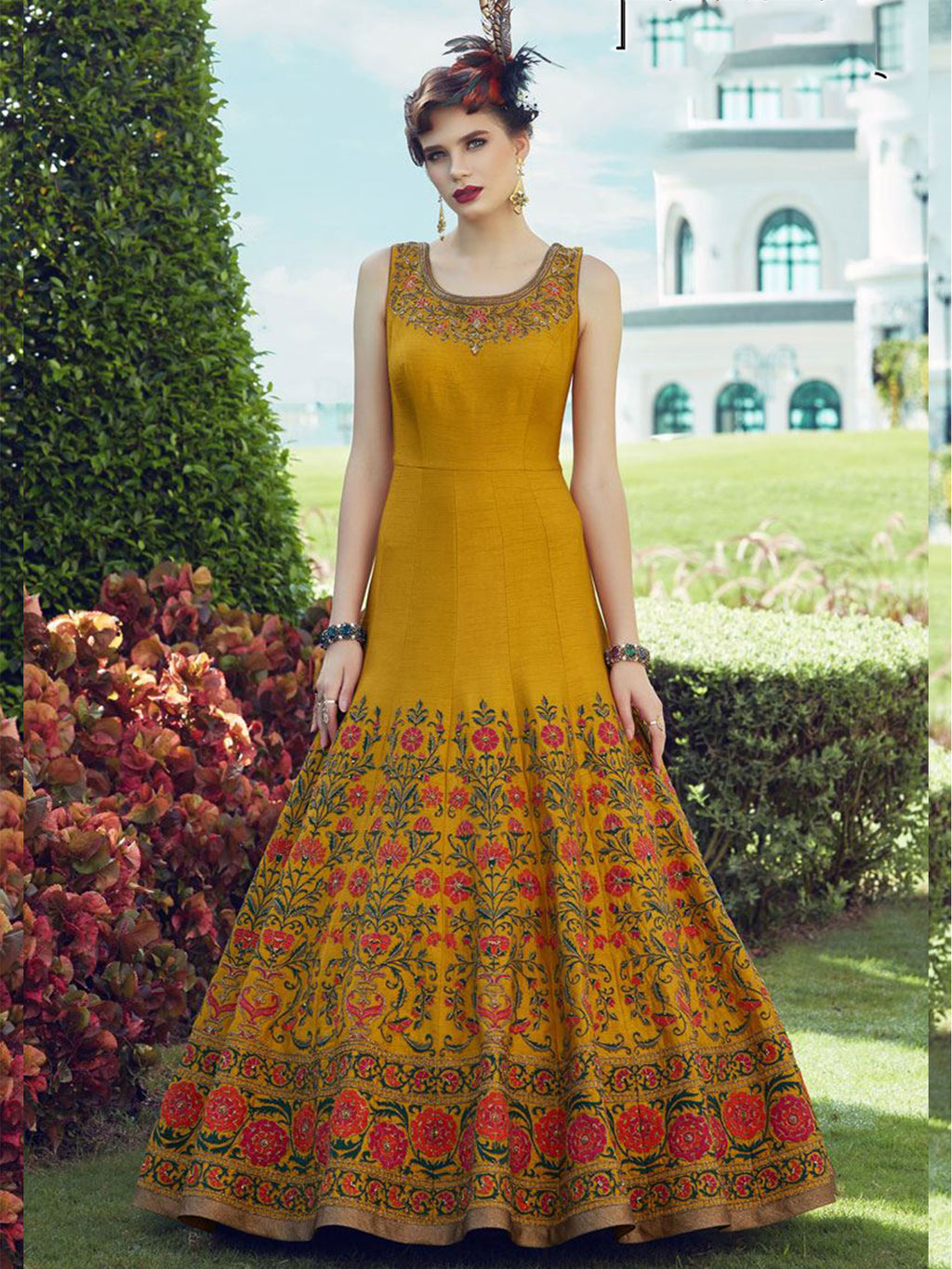 Stitched Golden Yellow Heavy Soft Banglori Silk Gown