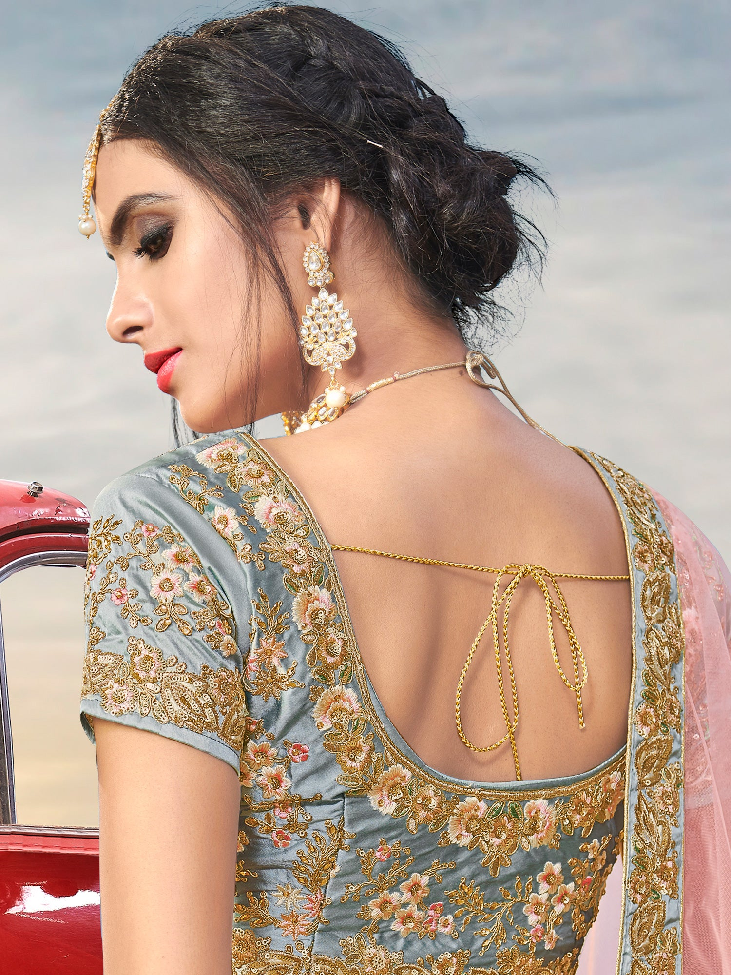 Grey color net embroidered semi-stitched lehenga choli